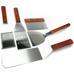 5 pc- BBQ Grill Set Tools - Griddle Kit - Spatula s, Turner, Chopper/Scraper