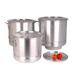 Set of 3 Aluminum Stock Pots W/ Steamer (64 QT, 80 QT, 100 QT)