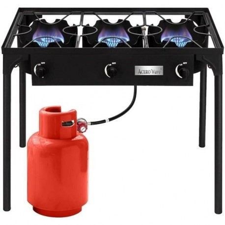 AW6900-Triple 3 Burner Propane Gas Cooker-Outdoor BBQ Grill-Portable Camp Stove Cooking
