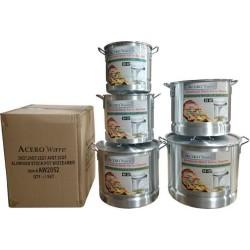 AW205AW2052-Set of 5 Aluminum Stock Pots W/ Steamer (20 QT- 52 QT)